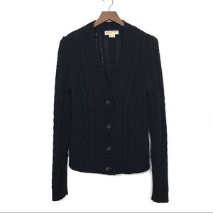 MICHAEL KORS Black Cable Knit Cardigan Sweater Med